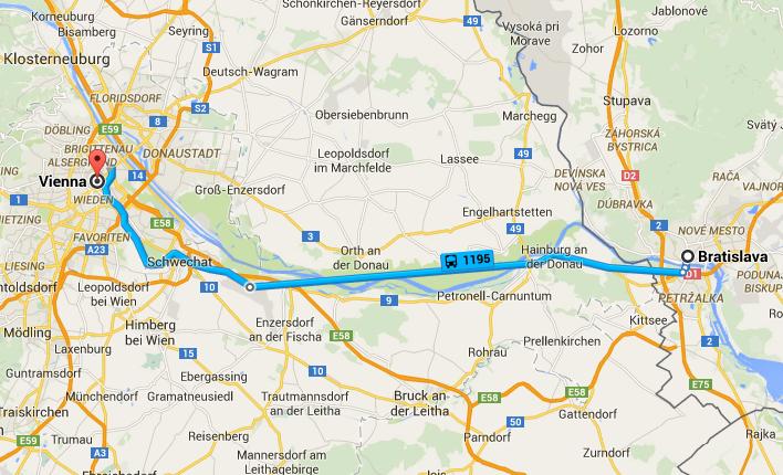 Chegar a Bratislava de comboio a partir de Viena