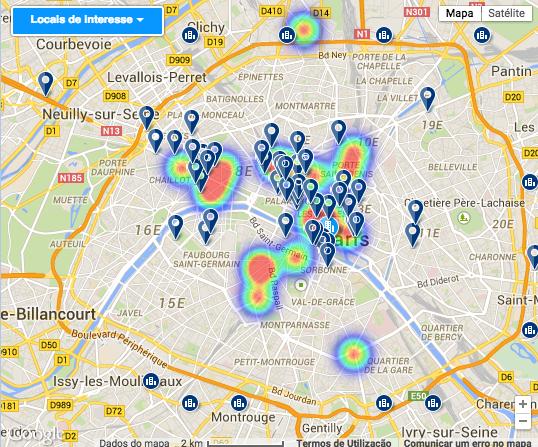 Mapa de hotéis próximos de lojas.