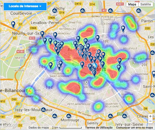 Mapa de hotéis e pontos turísticos.