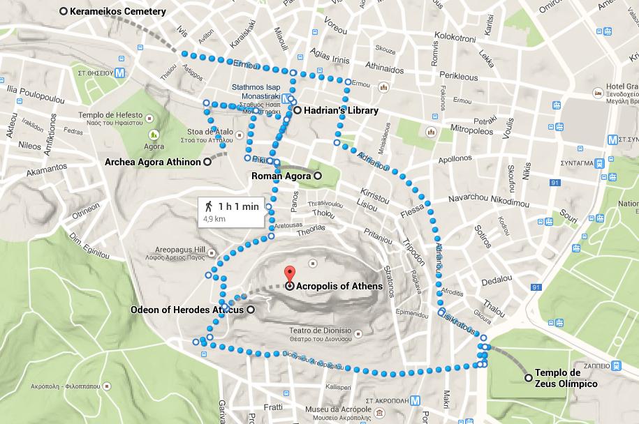 Visita ao centro histórico de Atenas
