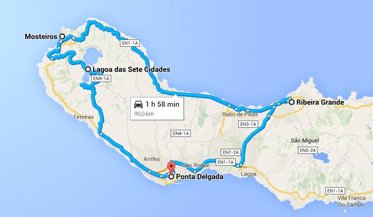 Viagem de carro nos Açores