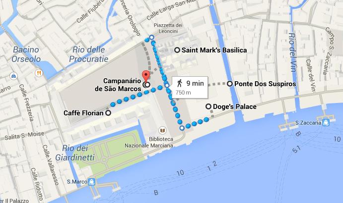 Percurso junto à Praça de São Marcos