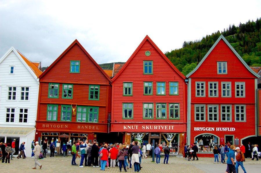 Casas de Bryggen, o centro histórico de Bergen